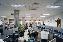 Shenzhen, China: Library of Internet cafes. Shenzhen Baoan Library in the Internet cafe, people leisure stock image