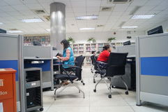 Shenzhen, China: Library of Internet cafes. Shenzhen Baoan Library in the Internet cafe, people leisure royalty free stock image