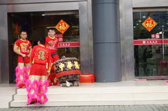 Shenzhen, China: lion dance activities Royalty Free Stock Photos