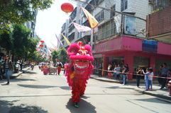 Shenzhen, China: lion dance to celebrate the temple Royalty Free Stock Image