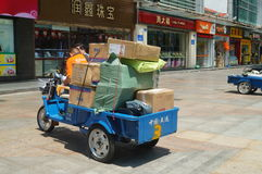 Shenzhen, China: logistics transport tricycle Stock Photos