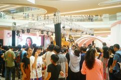 Shenzhen, China: male and female fans are waiting to watch Hongkong actress Myolie Wu D. Male and female fans wait to watch Hong Kong star hu xinger arrive at Royalty Free Stock Photography