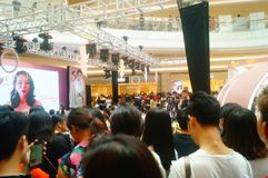 Shenzhen, China: male and female fans are waiting to watch Hongkong actress Myolie Wu D. Male and female fans wait to watch Hong Kong star hu xinger arrive at Stock Images