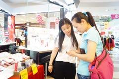 Shenzhen, China: mall cosmetics counters Royalty Free Stock Image