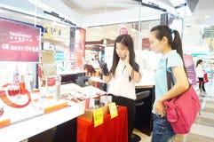 Shenzhen, China: mall cosmetics counters Stock Photos