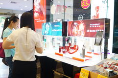 Shenzhen, China: mall cosmetics counters Royalty Free Stock Images