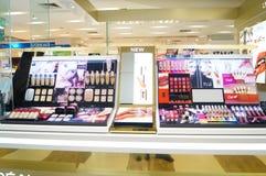 Shenzhen, China: mall cosmetics counters Stock Photo