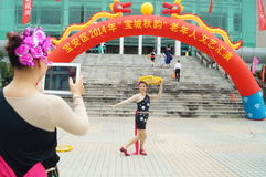 Shenzhen, China: masses of female actors Stock Photography