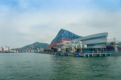 SHENZHEN, CHINA- MAY 11, 2017: Beautiful building of Terminal ferry, where TurboJet provides services between Hong Kong Stock Images
