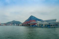 SHENZHEN, CHINA- MAY 11, 2017: Beautiful building of Terminal ferry, where TurboJet provides services between Hong Kong. Macau, Shenzhen and around the Pearl Stock Image