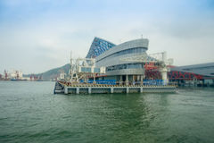 SHENZHEN, CHINA- MAY 11, 2017: Beautiful building of Terminal ferry, where TurboJet provides services between Hong Kong. Macau, Shenzhen and around the Pearl Royalty Free Stock Images