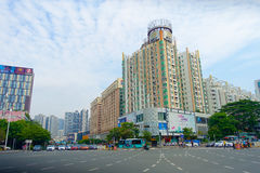 SHENZHEN, CHINA- MAY 11, 2017: Gorgeous view of downtown of Shenzhen, China city in the center district.  Royalty Free Stock Photos