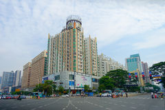 SHENZHEN, CHINA- MAY 11, 2017: Gorgeous view of downtown of Shenzhen, China city in the center district.  Royalty Free Stock Images