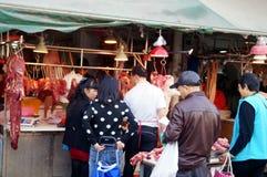 Shenzhen, China: Mercado de carne Imagenes de archivo