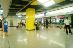 Shenzhen, China: Metro Line 7 and Sha Wei subway station landscape. Shenzhen Metro Line 7 and Sha Wei subway station landscape, men`s and children`s passengers royalty free stock photos
