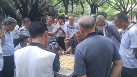 Shenzhen, China: middle-aged and elderly men play chess. In the morning, in Xixiang Park of Shenzhen, the middle-aged and old men played chess as entertainment stock photography