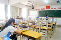 Shenzhen, China: middle school classroom Stock Photo
