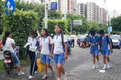 Shenzhen, China: middle school students go home on the way home Stock Photography