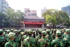 Shenzhen china: middle school students in military training Stock Images