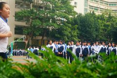 Shenzhen, China: middle school students take physical education classes