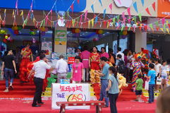 Shenzhen, China: mobile phone store promotions Royalty Free Stock Photography