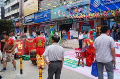 Shenzhen, China: mobile phone store promotions Royalty Free Stock Photos