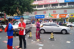Shenzhen, China: mobile phone store promotions. Shenzhen Baoan Xixiang commercial street, May 1st Labor Day, mobile phone store promotions, lion dance, draw and Stock Image