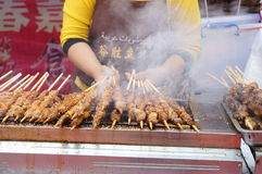 Shenzhen, China: mutton cubes roasted on a skewer Stock Photography
