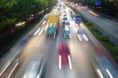 Shenzhen, China: Nacht 107 verkeerlandschap Royalty-vrije Stock Foto's
