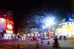 Shenzhen, China: Nachtstraßenbild Lizenzfreie Stockbilder