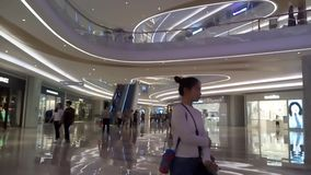 Shenzhen, China: Night Shopping Center indoor landscape stock footage