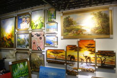 Shenzhen, China: oil painting shop Stock Photo