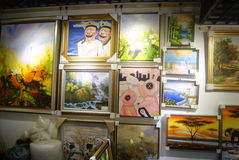 Shenzhen, China: oil painting shop Royalty Free Stock Photos