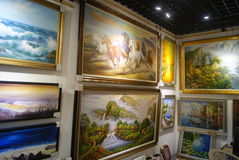 Shenzhen, China: oil painting shop Royalty Free Stock Photo