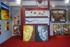 Shenzhen, China: oil painting shop Stock Photography