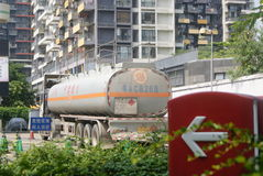 Shenzhen, China: oil tank truck Royalty Free Stock Photography