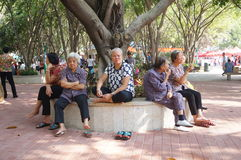 Shenzhen, China: the old people in the park Royalty Free Stock Photography