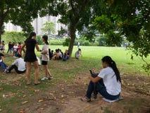 Shenzhen, China: openluchtactiviteiten voor jonge mannen en vrouwen Stock Foto's