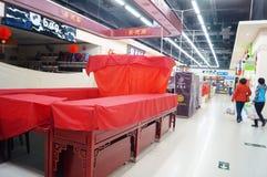 Shenzhen, China: Oudejaarsavond, vroeg gesloten winkels Royalty-vrije Stock Afbeelding