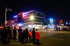 Shenzhen, China: paisaje de la noche de la calle Imagenes de archivo