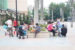 Shenzhen, China: parents and children together to relax and play Stock Image