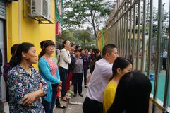 Shenzhen, China: parents of kindergarten outside Royalty Free Stock Photography