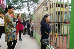 Shenzhen, China: parents of kindergarten outside Royalty Free Stock Images