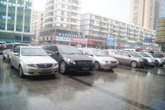 Shenzhen, China: Parking landscape in the rain Royalty Free Stock Images