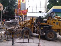 Shenzhen, China: pavement construction Royalty Free Stock Images