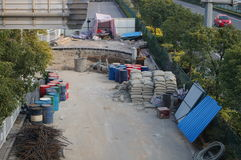 Shenzhen, China: pavement construction Royalty Free Stock Photo