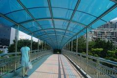 Shenzhen, China: pedestrian bridge Stock Photo