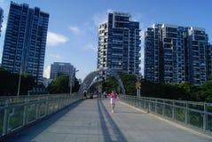 Shenzhen, China: pedestrian bridge Stock Images