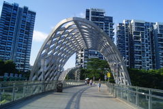 Shenzhen, China: pedestrian bridge Royalty Free Stock Photography
