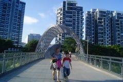 Shenzhen, China: pedestrian bridge Royalty Free Stock Photo